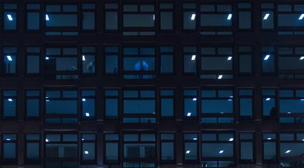 Building windows/interior at night.