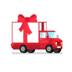 Isolated red truck with gift box in half turn. 3d vector illustration.