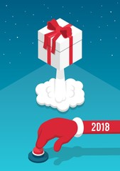 Santa's hand presses the red button and launches the gift box like a rocket. 3d isometric illustration.