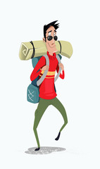Young man traveler with backpack.
