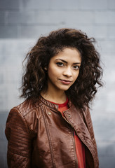 Portrait of Happy Mixed Race Young Woman