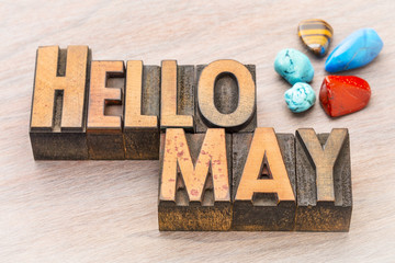 Hello May in vintage wood type