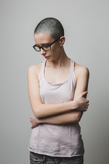 Androgynous Young Woman Hiding her Feminine Body
