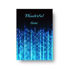 Rectangular invitation template for a birthday with a blue neon light