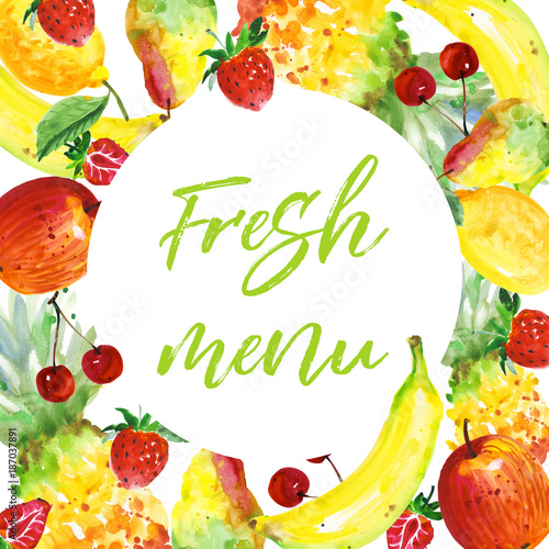 Exotic composition healthy food frame in a watercolor style  Full