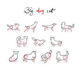 Vector set of dogs in sketch style