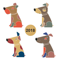 A set of dogs. Symbol of the Chinese New Year 2018.