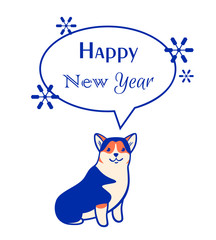 Vector new year greeeting card with corgi