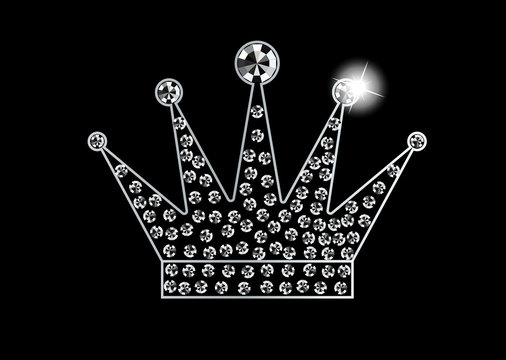 Diamond Crystals Paved Silhouette of Crown  -  Vector Glamor Rhinestones Fashion Logo