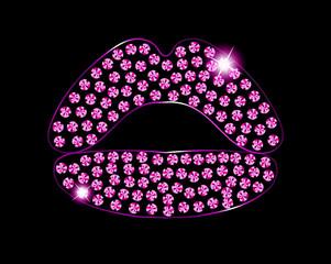 Diamond Crystals Paved Silhouette of Pink Lips Kiss -  Vector Glamor Rhinestones Fashion Symbol
