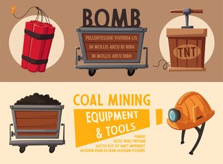 Banners with mining tools. Worker's inventory. Cartoon vector illustration
