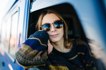 Young woman in the van