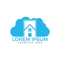 Cloud House Logo Design. Home cleaning or delivery company business logo.