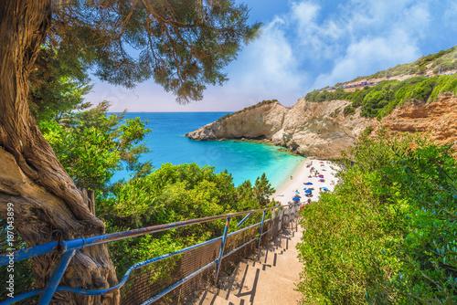 Wall mural Stairs leading to the Porto Katsiki beach on Lefkada island, Greece
