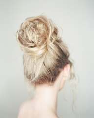 Back view of woman hairdo