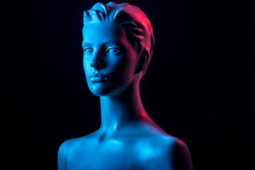 Mannequin with Red and Blue Light