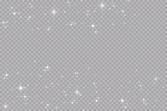 Glow light effect. Vector illustration. Christmas flash. dust