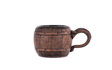 wooden beer mug on white background