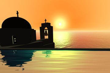 Sunset, a mediterranean landscape, a church with a bell tower above the sea.
