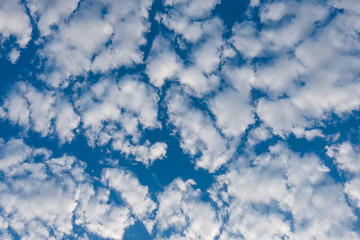 Cloud formation against vibrant blue sky