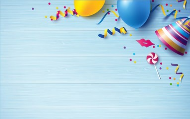 Carnival background flat lay. Balloons, streamers, candy, confetti on blue wooden background. Vector illustration