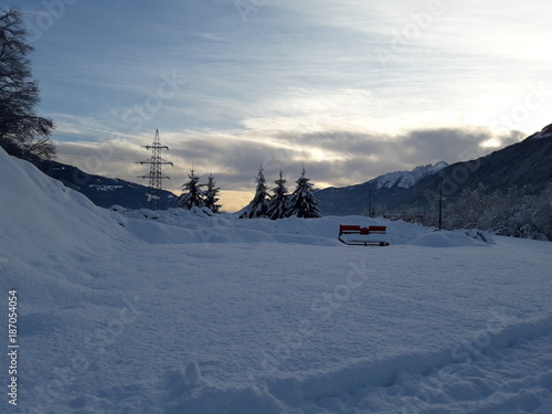 Schneelandschaft Am Abend Stock Photo And Royalty Free Images On