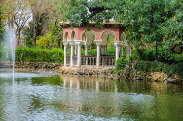 Small pond in Maria Luisa Park in Seville, Spain