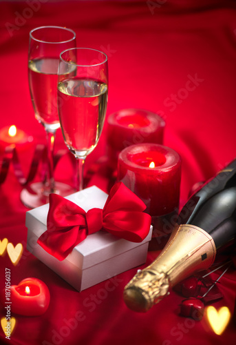 Valentine S Day Romantic Dinner Date Champagne Candles And Gift