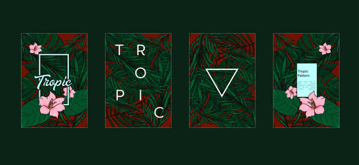 Tropic set of 4 templates. Summer vibes leaf background. Vector illustration.