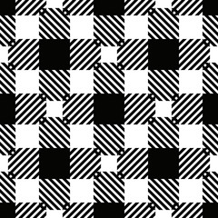 Textured tartan plaid patterns. Seamless vector pattern for textiles. Scottish. Chequered. White and Black check.