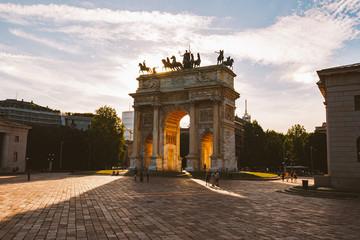 Arch of Peace in Sempione Park, Milan, Lombardy, Italy. Arco della Pace aka Porta Sempione in Milan, Italy