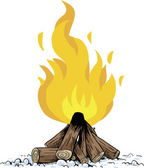 A cartoon pile of wood fueling a blazing, hot campfire.