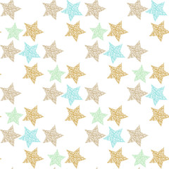 Seamless vector pattern with hand-drawn and texture colorful foil stars, abstraction illustration on white background.
