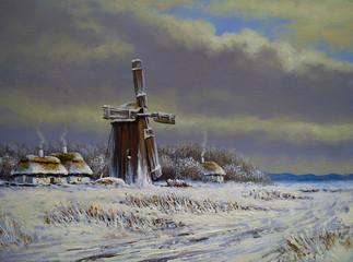 Winter landscape oil paintings. The art