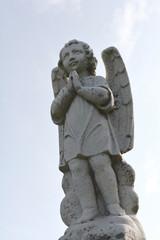 Cherub statuette, angel guardian figure of a praying Cherub, antique statue of angel.