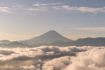 Mt.Fuji with sea of cloud in summer