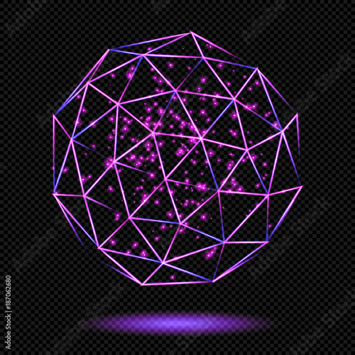 Pink shining Regular Polyhedron with Sparks on Transparent
