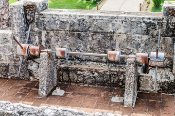 Drawbridge machinery at Castillo de San Felipe, Spanish colonial fort at the entrance to Lake Izabal in eastern Guatemala