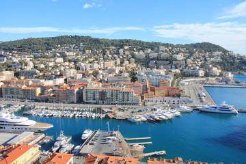Canvas Prints Ship Vue sur le port de Nice depuis la colline du château, cote d'Azur, France