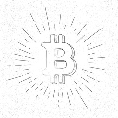 Hand Drawn Crypto Bitcoin Symbol  - Doodle Vector Hatch Icon