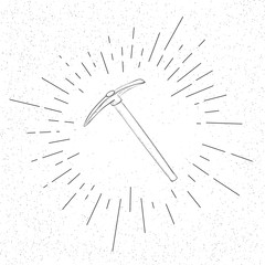 Hand Drawn Crypto Currency Cloud Mining Pickaxe Symbol  - Doodle Vector Hatch Icon