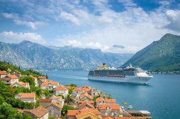 Printed roller blinds Mediterranean Europe beautiful mediterranean landscape. Mountains near town Perast, Kotor bay (Boka Kotorska), Montenegro.
