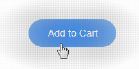 Close Up Hand Cursor and Site Add to Cart Form Button Online Shopping on Computer LCD Screen Pixel Background  - Vector Macro Image Digital Concept