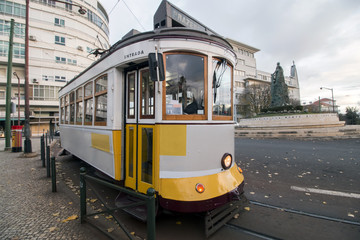 historical yellow tram