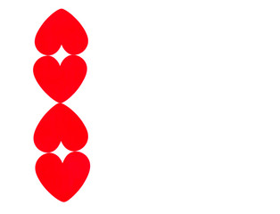 vertical row of 4 bright red hearts for Valentine's Day isolated on white