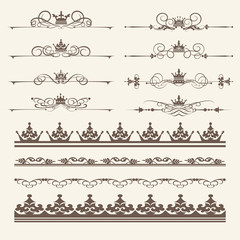 Calligraphic elements for design. Vintage Borders, frames and swirls. Vector