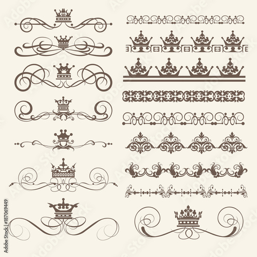 vintage borders frames and swirls calligraphic elements for design