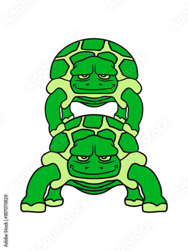 Huckepack 2 Freunde Team Paar Pärchen Schildkröte Süß Niedlich Comic