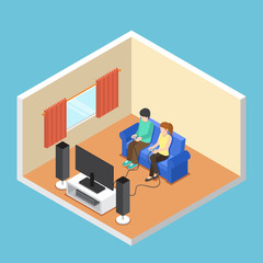 Isometric man and woman playing video game in the living room.