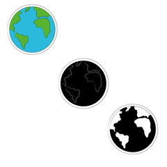set of planet earth icons in three versions- color, monochrome. Vector illustration.